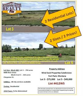 Lots And Land for sale in NHN Milk River Drive and Cheyenne St., Fort Peck, MT, 59248