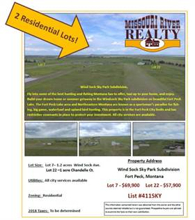 Lots And Land for sale in NHN Wind Sock Ave and Chandelle Ct., Fort Peck, MT, 59248