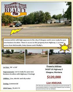 Lots And Land for sale in 54187 Hwy 2, Glasgow, MT, 59230