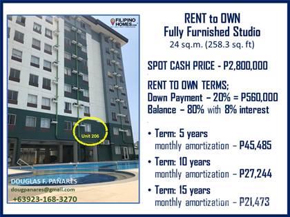 Condominium for sale in Rent to Own Fully Furnished Studio of Amaia Steps Condominium at Mandaue City, Mandaue, Cebu