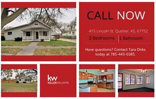 Single Family for sale in 415  Lincoln Street, Quinter, KS, 67752