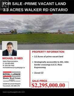 Vacant Land for sale in V/L WALKER ROAD, Windsor, Ontario