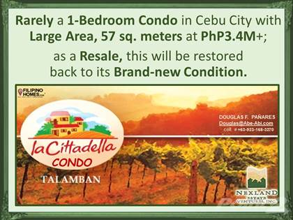 Condominium for sale in Rarely a 1-Bedroom Condo in Cebu City with Large Area, 57 sq. meters at PhP3.4M+ in Talamban, Cebu City, Cebu