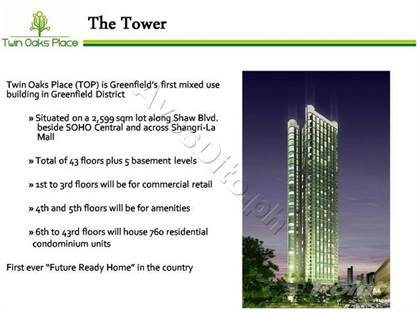 Condominium for sale in Twin Oaks Place East Tower, Greenfield District, Mandaluyong City, Metro Manila, Mandaluyong, Metro Manila