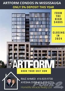 Condominium for sale in Artform Condos Mississauga, Mississauga, Ontario