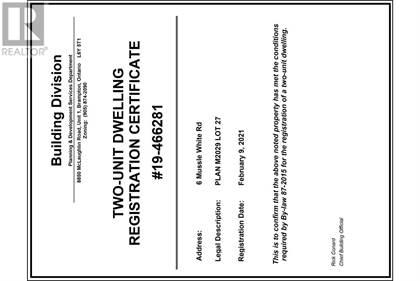 6 MUSSLE WHITE RD,    Brampton,OntarioL6Y6C3 - honey homes