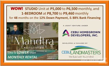 Condominium for sale in Wow! Studio Unit for P5,000 monthly at Mandtra Residences in Mandaue City, Cebu, Mandaue, Cebu